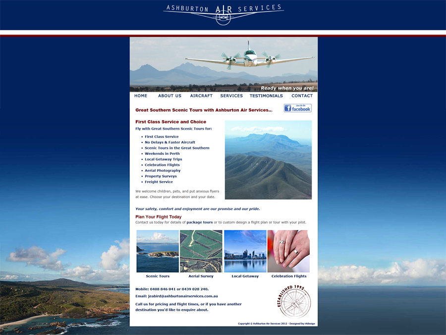 Original Website created for Ashburton Air Services